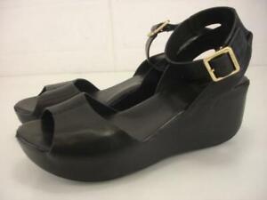 Women's 10 M Kork-Ease Carolyne Ankle Strap Sandals Black Leather Wedge Platform