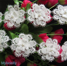 10x Lace Flower Heart Pearl Applique Patch Sewing Craft Trim Dress Ribbon Motif
