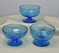 Set of 3 Blue Vintage Hand Blown Champagne Dessert Sherbet Glasses Cups Pontil