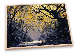 Dark Autumn Forest Modern Orange CANVAS FLOATER FRAME Wall Art Print Picture
