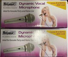 More details for 2 x silver dynamic vocal karaoke microphones silver 3m lead 1/4 6.35mm jack xlr