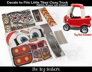 Replacement Decal fits Little Tikes Cozy Coupe Older Truck With Eyes Fire Engine