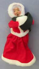 Byers Choice Caroler Traditional Mrs. Claus Red Velvet Coat with White Muff Mint