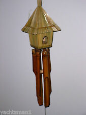 Thatched BirdHouse Bamboo Wind Chime ~ New