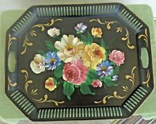 """Vintage Art Gift Products Floral Painted Large Toleware Handled Tray 20"""" x 16"""""""