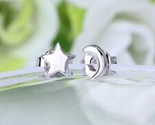 Silver plated Ear Stud Ear Lad Cute Asymmetry Creative Moon And Star