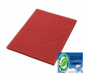 """14"""" x 28"""" Red Floor Scrubbing Buffer Pads Box of 5, Daily Cleaning Spray Buffing"""