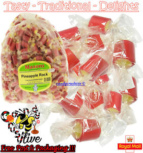 1 - 1000 Maxons Pineapple Rock Roller Boiled Sweets Yellow Red Traditional Retro