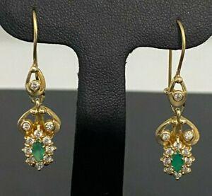 14K Solid Gold W/ Green & White stone Drop Earrings 4.37g / 38mm