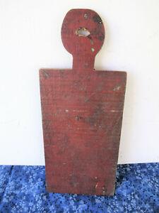 "Antique Cutting Bread Board Primitive 13"" x 5-1/2"" Old Red Paint Lollipop Handle"