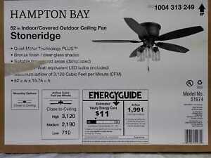 Stoneridge 52'' LED Indoor/Outdoor Hugger Ceiling Fan w/ Light Kit Hampton Bay