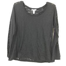 Ambiance Apparel Juniors Plus Size 1X Black Burnout Long Sleeve Shirt Top