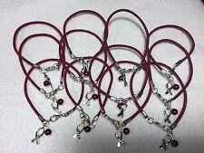 """1 DZ Burgundy Multiple Myeloma Cancer """"Hope"""" w/ Glass Bead Bracelets***Free Ship"""