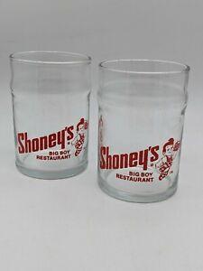 Set of 2 Vintage Shoney's Big Boy Restaurant 8 oz Juice Glass Water Glasses