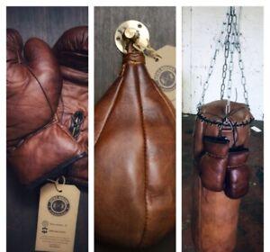 Retro Reborn vintage Leather Boxing Bag , Boxing Gloves , Speed Bag