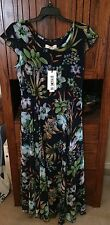 Dark blue floral chiffon dress, calf length, Style We, Borme, US size 10-12