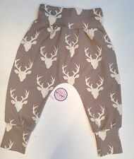 NEW Designer fabric Boys/Girls Harem Pants Age 18-24 months In Mist Stags