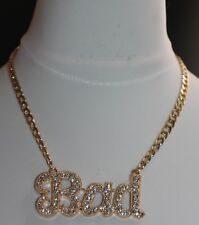 GOLD PLATED CRYSTAL STATEMENT NECKLACE 16ins UK SELLER