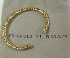David Yurman 4mm Cable Classic Bracelet Bangle 18K Yellow Gold & Diamond Tip End