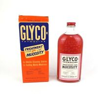 Vintage 60's Glyco Thymoline Large Apothecary Medicine Bottle with Original Box