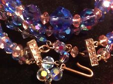 Vintage Colbolt Blue Aurora Borealis AB Crystal Glass Necklace & Bracelet