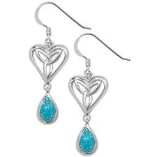 Unique Wishlist Sterling Silver Open Celtic Heart Opal Hook Wire Drops G5768OP