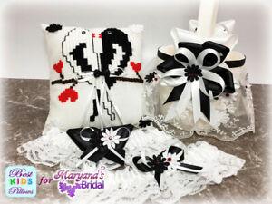 Black & White Love Birds Wedding Ring Pillow/Flower Girl Basket FREE Garter # 1
