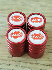AUDI WHITE AND RED TOP RED DELUXE car Valve Alloy wheel dust Caps ALL MODELS Q2