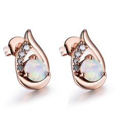 18K Rose Gold White Fire Opal Angel Wings Stud Earrings Wedding Ear Studs Gifts