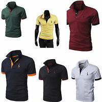 Men Slim Fit Short Sleeve Polo Tee Shirt Tops Stylish Summer Casual T-Shirts New