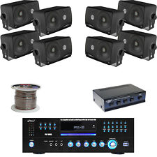 "Black 3.5"" 200W Box Speakers, Speaker Selector & Wiring, 1000W DVD USB Receiver"