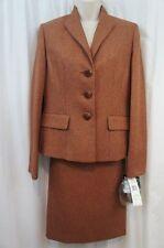 Le Suit Skirt Suit Sz 4 Rust TUSCANY Herringbone 3 Button Career Business