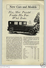 1927 PAPER AD 5 PG Article Franklin Sport Touring Sedan Car Automobile Engine