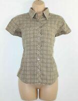 Women's Vintage GREAT ESCAPES Short Sleeve Brown 100% Cotton Blouse Shirt Size M