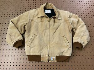 KIDS MEDIUM Vtg Carhartt Y03 Duck Flannel Quilt Lined Distressed Santa Fe Jacket