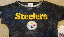 New CUTE Pittsburgh Steelers NFL Football Shirt Black Teens Juniors Small XS 0/1