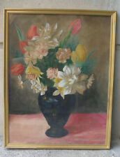 Superb Antique still-life with flowers in cobalt blue Kahler vase. 1880s