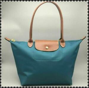 Longchamp Le Pliage Tote Peacock blue bag Travel Handbag Nylon Large L &59