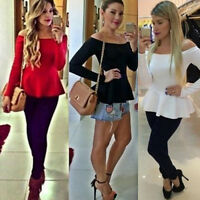 Sexy Women Ladies Blouse Tops Long Sleeve Off Shoulder Slim Tank T Shirt Fashion