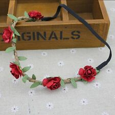 Rose Flower Head Chain Jewelry Hollow Elastic Hair Band Headband Wedding Fashion