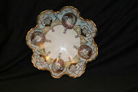 Hand Painted Japanese Porcelain Bowl Raised Enamel Beads Green Trim
