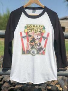 Rare VTG 80s Van Halen 1981 SINGLE STITCH Rock Band Tour Raglan T Shirt M/L