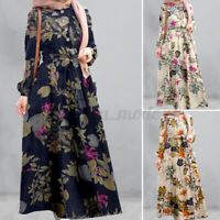 UK Women Long Sleeve Vintage Printed Muslim Dubai Kaftan Casual Loose Maxi Dress