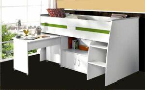 Hochbett Funktionsbett Kinderbett Jugendbett in weiß mit Schreibtisch Kommode Le