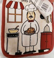 "Set of 2 Printed JUMBO Pot Holders, 7"" x 8"", FAT CHEF WITH TRAY w/ red back, BH"