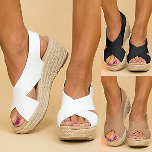 Women Ankle Strap Flat Wedge Peep Toe Shoes Espadrilles Summer Platform Sandals.