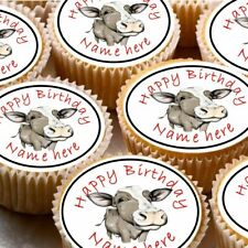 24 icing cake decorations toppers can be personalised farm cow