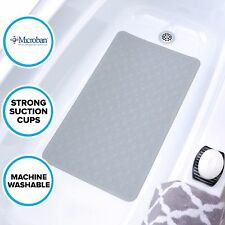 Large Gray Rubber Bath Safety Mat: In-Tub Mildew Resistant Suction Cup Mat