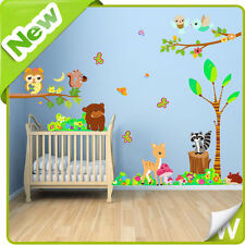 Animal Wall Stickers Owl Tree Zoo Jungle Safari Nursery Baby Bedroom Decal Decor