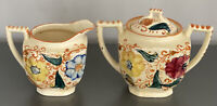Vintage Hand-Painted Creamer And Sugar Bowl Set Japan Tea Kitchen Art